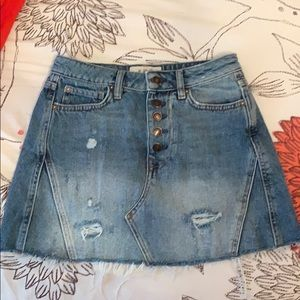 Free people button jean skirt
